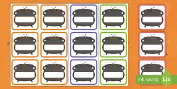 Arwyddion a Labeli Hunan Gofrestru Crochan Golygadwy - Halloween, cauldron, label, sign, Calan, gaeaf, crochan, golygadwy, label, arwyddion,Welsh