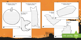 Halloween Templates Shape Poetry English/Hindi -  poetry, poems, writing, activity sheet, bats, pumpkin, challenge, EAL