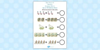 The Tale of Jemima Puddle-Duck Up to 10 Addition Sheet - jemima puddle-duck
