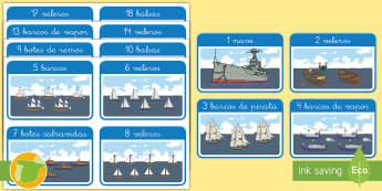 Tarjetas educativas: Los números hasta 20 - El transporte marítimo - transporte, coche, camión, avión, globo aerostático, autobús, moto, motocicleta, vía, carretera