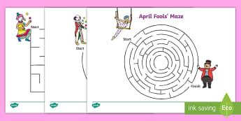 April Fools' Day (Joke) Maze Activity - EYFS/KS1 April Fool's Day (1st April), jokes, april fools, fake