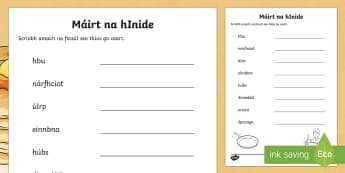 Pancake Tuesday ROI Word Scramble Activity Sheet - Gaeilge - Pancake Tuesday/ Máirt na hInide, pancóga, pancakes, word scramble, gaeilge,Irish, worksheet