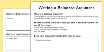 Writing a Balanced Argument Worksheets - balanced argument, balanced argument worksheets, how to write a balanced argument, writing a balanced argument