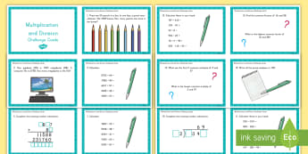Multiplication and Division Challenge Cards - math, multiplication, division, challenge cards, flash cards, game