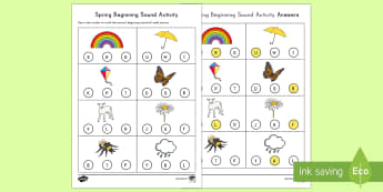 Spring Beginning Sounds Activity Sheet - Spring, First day of Spring, Beginning Sounds, Dot Marker, Alphabet, Letter Sounds, phonics, initial
