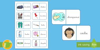 Dominos: La Ch - lecto, leer, lectura, sonidos, letra , lecto-escritura, fonemas, sonidos, consonantes, letra ch, fon