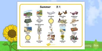 Summer Word Mat English/Mandarin Chinese - Summer Word Mat -  Summer, holidays, word mat, writing aid, holiday, holidays,  seasons, beach, sun,