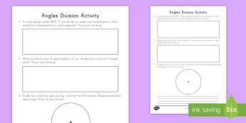 Angles Division Activity Sheet - angles, division, measurement, data, turns, acute, obtuse, straight, right