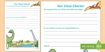 Our Class Charter Dinosaur-Themed for SEAL Writing Template - Writing, Template, Classroom, Management, Behaviour, KS1,