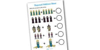 Rapunzel Addition Sheets - rapunzel, addition, sheet, addition sheet, rapunzel addition, rapunzel worksheet, addition worksheet, maths, numeracy