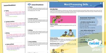 PlanIt - Computing Year 1 - Word Processing Skills Planning Overview CfE - planit, planning, overview, cfe