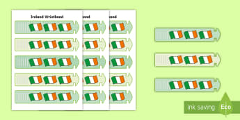 Ireland Wristband - ROI - Irish Language Week Gaeilge Resources - 1st-17th March, Ireland, wristbands,Irish