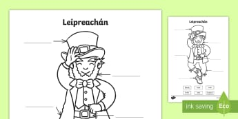 Label the Leprechaun Gaeilge Activity Sheet Gaeilge - leprechaun, label, gaeilge, worksheets
