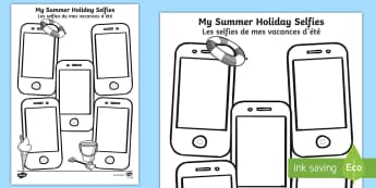 Summer Holiday Selfies Writing Template English/French - term, break, selfy, photo, portrait, picture, EAL, translation