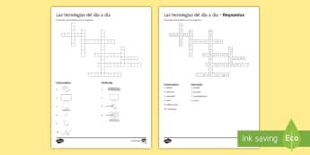 New Technologies Crossword Spanish - KS4, Spanish, New Technologies, everyday, life, ordenador, movil, teléfono, tableta, portatil, vide