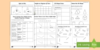Year 3 Properties of Shapes Learning from Home Maths Activity Pack - Learning from Home Maths Workbooks, angles, shape homework, right angles, 2-d shape, 3-d shape,Recog