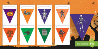 Halloween Display Bunting English/Hindi  - flags, Halloween, pumpkin , witch, bat, scary, black cat, mummy, EAL, bunting, decorations