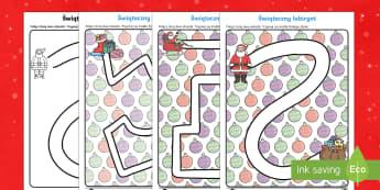 Karty Świąteczny labirynt Rysowanie po śladzie - boże narodzenie, gwiazdka, gwiazdor, prezenty, choinka, grudzień, święta, pisanie, nauka pisania