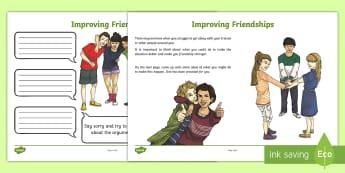 Improving Friendships Activity Sheet - PSHCE, transition, friendship, emotions, behaviour,