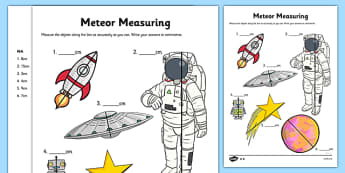 Meteor Measuring Activity Sheet - measure, measurement, sspace, astronaut, planets, spaceship, star, robot, ks1, cm, centimetres, ssm, worksheet