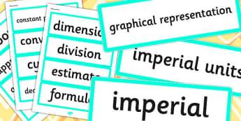 Year 6 2014 Curriculum Measurement Vocabulary Cards - vocab cards