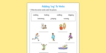 Adding ing To Verbs Activity - adding, verbs, activity, ing