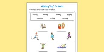 Present Continuous - Adding '-ing' to Verbs Activity - ESL Grammar Resources