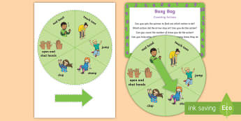 Counting Actions Busy Bag Prompt Card and Resource Pack - maths, counting, steps, claps, jumps, body percussion, action