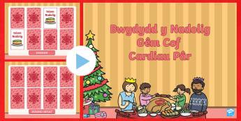 Gêm Cof Cardiau Pâr Pŵerbwynt Bwydydd y Nadolig