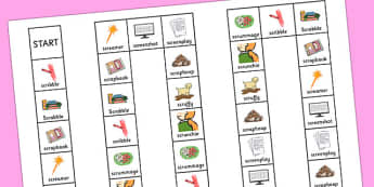 Two Syllable SCR Board Game - speech sounds, phonology, articulation, speech therapy, cluster reduction, complex clusters, three element clusters