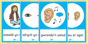 Posteri Gwrando'n Astud - welsh, cymraeg, good listening, posters, display