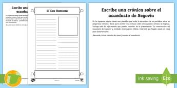 Ficha: Crónica del acueducto de Segovia - Cuarto Curso Primaria, Ciencias Sociales, romanización, legado, Edad Antigua, ingeniería, avances,