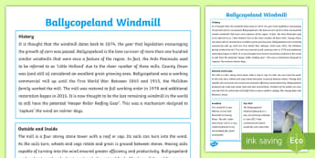 Northern Ireland Ballycopeland Windmill Fact Sheet - buildings, historic, place, significant, locality, technology, watermills, engineering