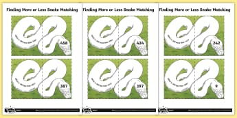 Finding 100 More or Less Snake Matching  Activity - Number and Place Value, counting on, problem solving, maths mastery, year 3, fun maths, hundreds, te