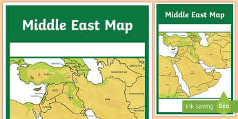 Middle East Map A4 Display Poster - UAE, ADEC, MOE, gcc, gulf, middle east, map