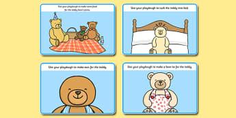 Teddy Bear Playdough Mats - teddy bear, playdough mats, playdough, mats