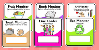 Monitor and Job cards Polish Translation - responsibility, information, roles, choice, classroom organisation, rota, schedule, ks1, ks2