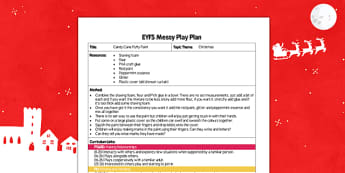 Candy Cane Puffy Paint EYFS Messy Play Plan - candy cane, puffy paint, eyfs, messy play plan