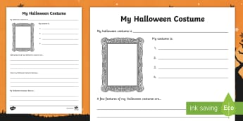 Halloween Costume Writing Frame - Celebrations, design, make, create, own, October, literacy, description, Creating text, worksheet