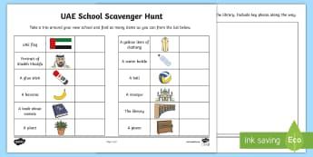 UAE School Scavenger Hunt Activity Sheet - scavenger, hunt, UAE, classroom, new, worksheet, back to school, new school year