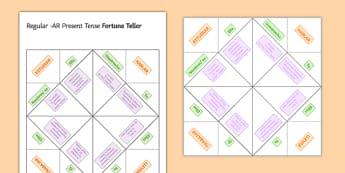 Regular AR Verbs Present Tense Fortune Teller