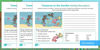 Treasures in the Garden Mermaid Setting Description Activity Sheets - setting, describe, under the sea, swim, writing, worksheets