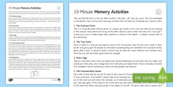Five 15-Minute Games to Develop Memory - Secondary - 15 Minute Revision Activities, memory, games, sen, develop, mind, revision, fun