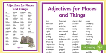 Adjectives for Places and Things Display Poster - adjectives, places, things, creative writing, display poster,Irish
