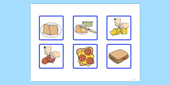 6 Step Sequencing Cards Making a Sandwich - sequencing, cards