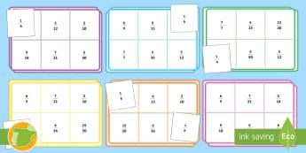 Bingo: Fracciones equivalentes - fracción, denominador, iguales, igual, juego, bingo, mates, matemáticas, un cuarto, una mitad, un