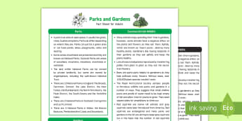 Parks and Gardens Fact Sheet for Adults - EYFS, Early Years, KS1, Understanding the World, Science, exploration, discovery, finding out, facts, information, playgrounds