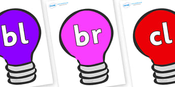 Initial Letter Blends on Lightbulbs (Multicolour) - Initial Letters, initial letter, letter blend, letter blends, consonant, consonants, digraph, trigraph, literacy, alphabet, letters, foundation stage literacy