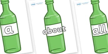 100 High Frequency Words on Green Bottles - High frequency words, hfw, DfES Letters and Sounds, Letters and Sounds, display words