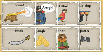 Pirate Themed Onomatopoeia Posters - pirates, sounds, literacy